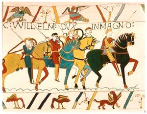 La bataille de Hastings sur la tapisserie de Bayeux.